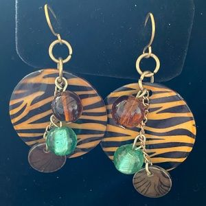 Tiger print earrings with beads